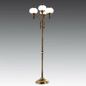 4-lamppuinen lattiavalaisin DELIA antiikkimessinki