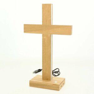 Cross-LED-pöytälamppu, ölj. tammi, korkeus 45 cm