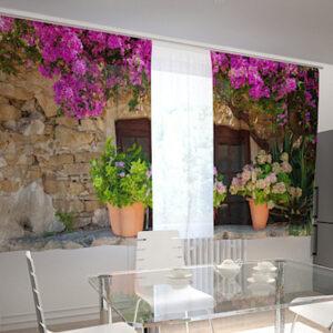 Läpinäkyvä verho FLOWER POTS FOR THE KITCHEN 200x120 cm