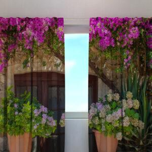 Läpinäkyvä verho FLOWERS IN POTS 240x220 cm