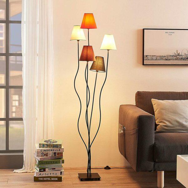 Melis – olohuoneen 5 lampun kangaslattiavalaisin