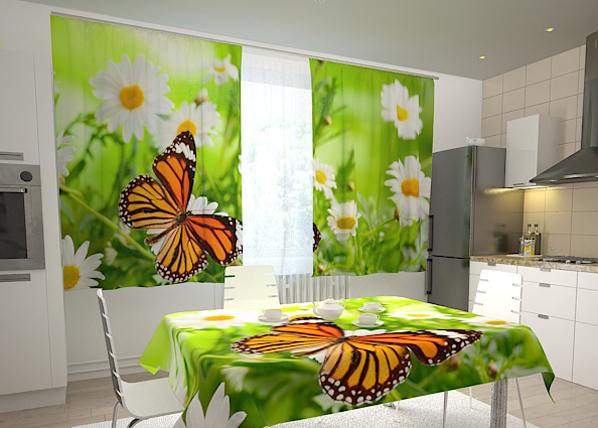 Pimennysverho BUTTERFLY AND CAMOMILES 200x120 cm