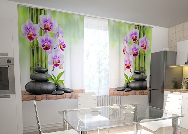 Pimennysverho ORCHIDS AND STONES IN THE KITCHEN 200x120 cm