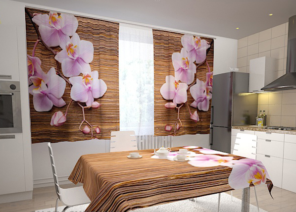 Pimennysverho ORCHIDS AND TREE IN THE KITCHEN 200x120 cm