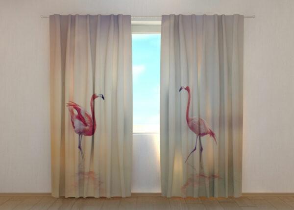 Pimennysverho Pink Flamingoes at Sunset 240x220 cm