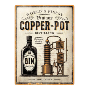Retrometallijuliste Copper Pot Gin 30x40 cm