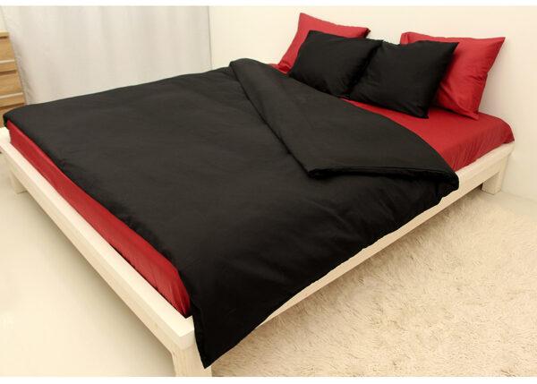 Satiini pussilakanasetti BLACK-RED 220x210 cm