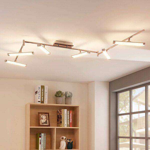6-lamppuinen LED-kattovalaisin Pilou, himmennet.