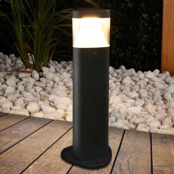 Tummanharmaa Milou-pylväsvalaisin LED
