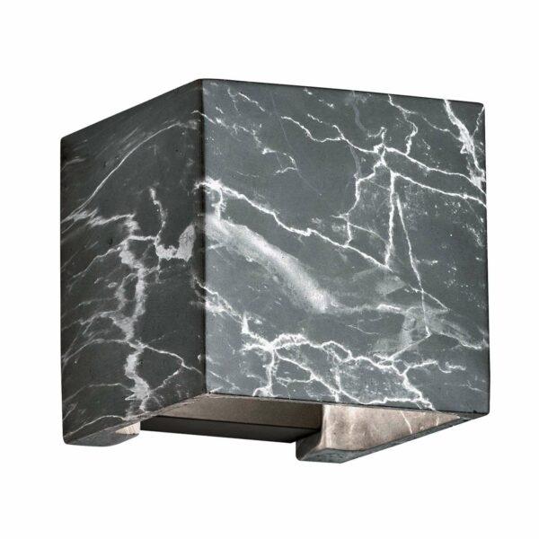 Davos-LED-ulkoseinälamppu, marmorikoriste, musta