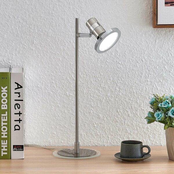 Lindby Kajetan -LED-pöytälamppu nikkeliä, 1-lamp.
