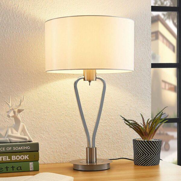 Lucande Gyda -kangaspöytälamppu, satinoitu nikkeli