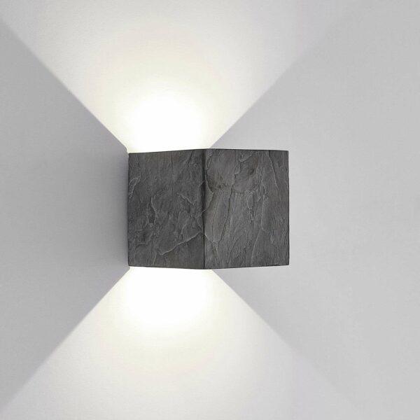 Lucande Naja -LED-ulkoseinälamppu, liuskekivi
