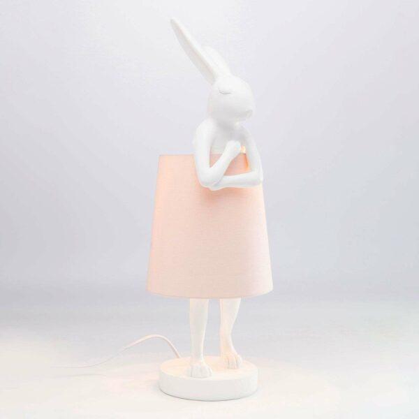 KARE Animal Rabbit -pöytävalaisin, valk./vaal.pun.