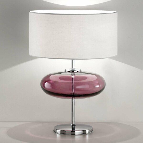 Show Elisse -pöytälamppu, 62 cm, pinkki lasiosio