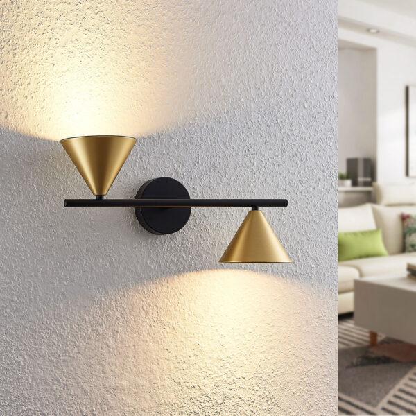 Lucande Kartio -seinälamppu, 2-lamppuinen, up down