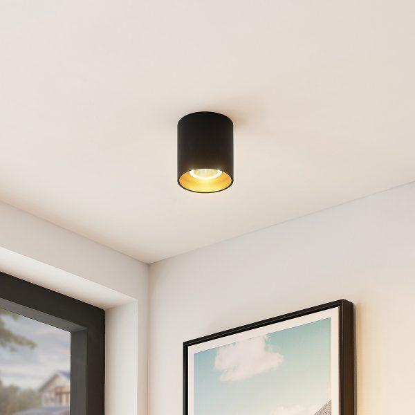Arcchio Zaki -LED-kattovalaisin, pyöreä, musta