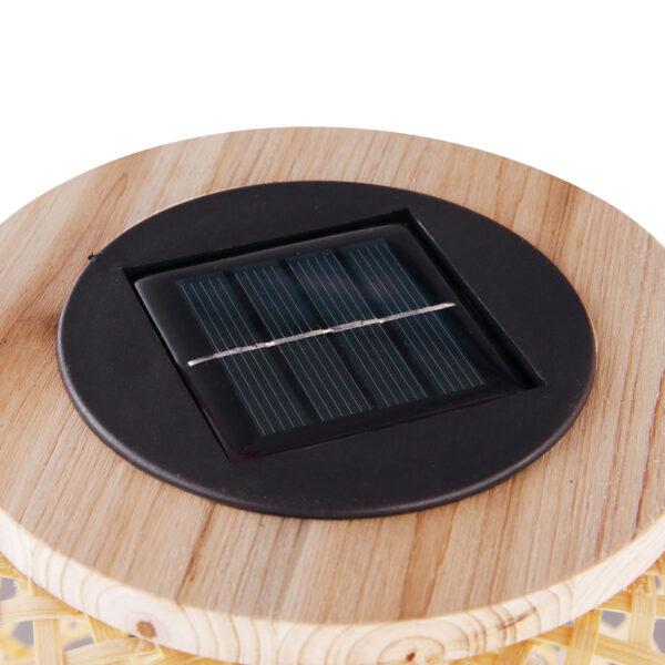 Aurinkokäyttöinen LED-valo 33671, lyhty, bambua