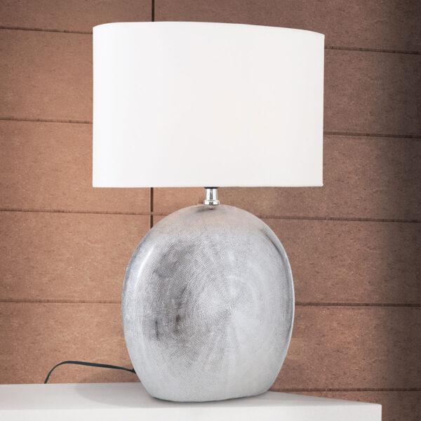 Keraaminen pöytävalaisin Ethno 52 cm valkoinen