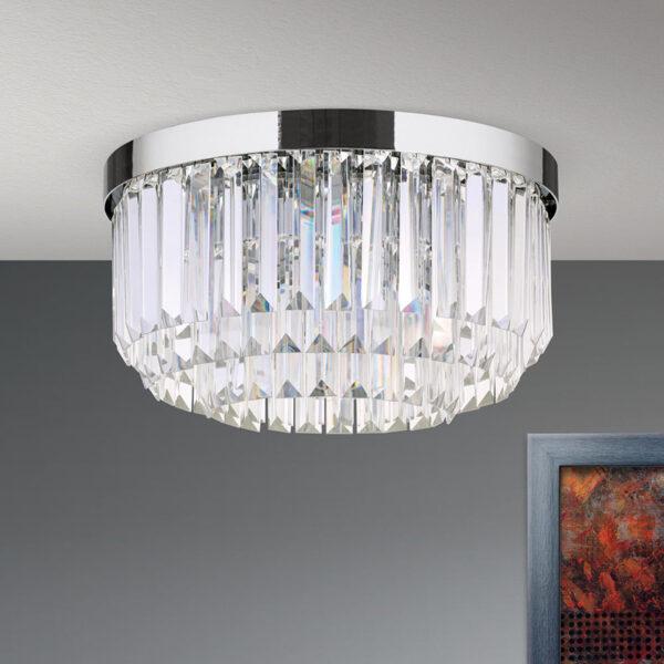 LED-kattovalaisin Prism, kromi, Ø 35 cm