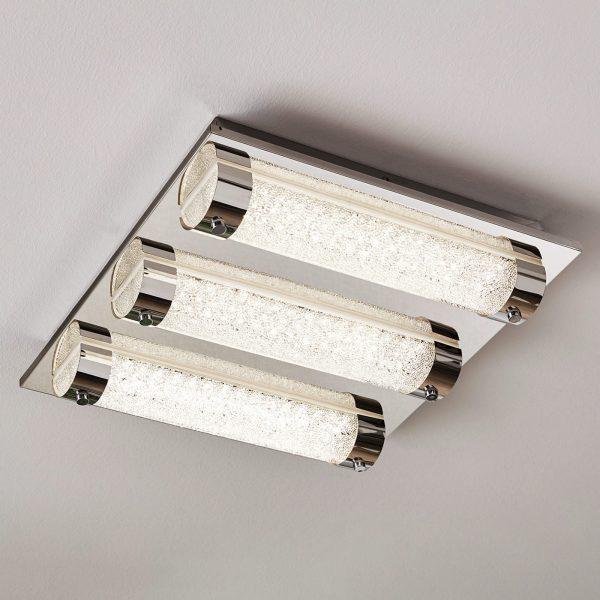 LED-kattovalaisin Tolorico, 35 cm, neliönmuotoinen