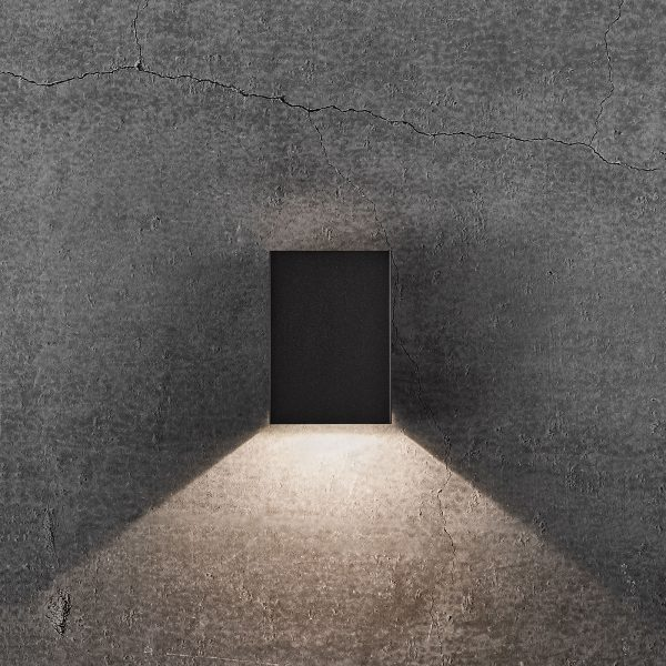 LED-ulkoseinälamppu Fold, 10 x 15 cm, musta
