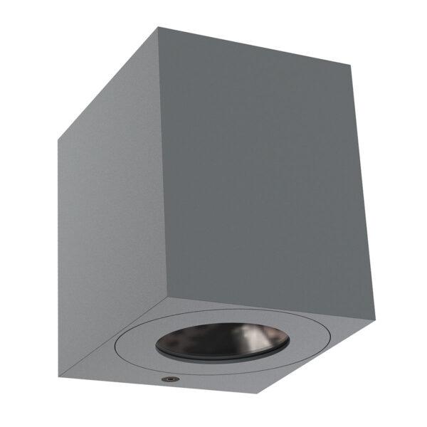 LED-ulkoseinävalaisin Canto Kubi 2, 10 cm, harmaa