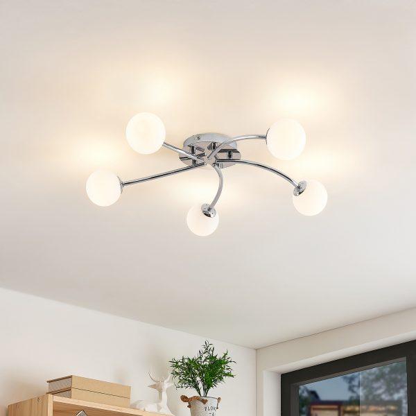 Lindby Chrissy -kattovalaisin, 5-lamppuinen, 59 cm