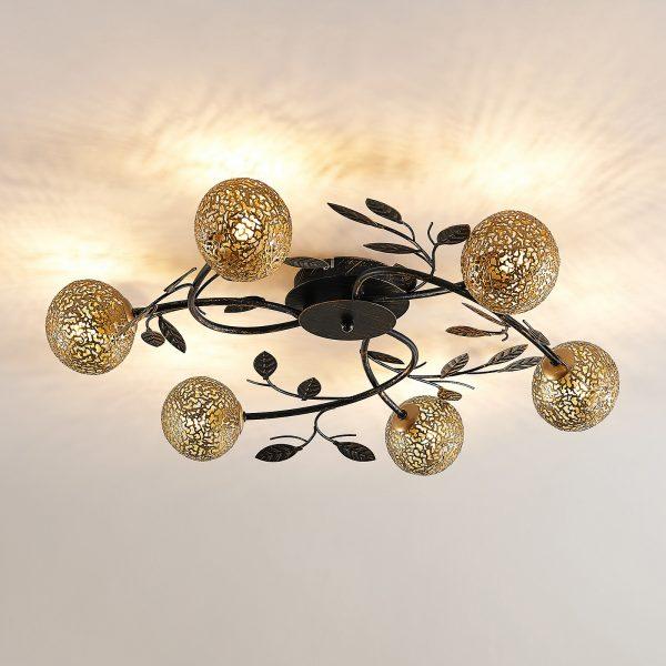 Lucande Evory -kattovalaisin, pyöreä 6-lamppuinen