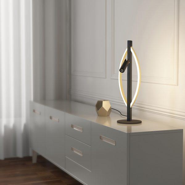 Lucande Matwei -LED-pöytälamppu, ovaali, messinki