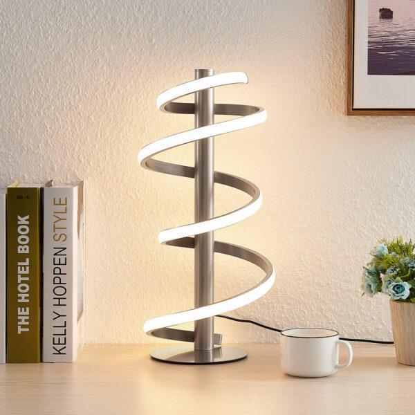 Lucande Milora -LED-pöytälamppu satinoitu nikkeli