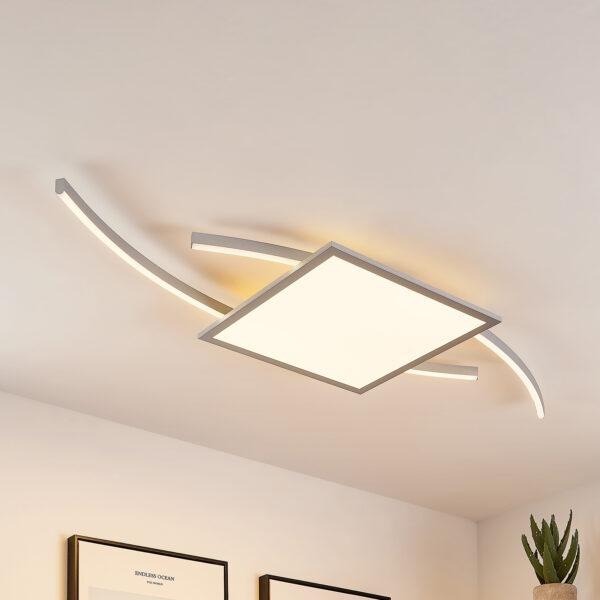 Lucande Tiaro -LED-kattovalo kulmikas 40 cm, CCT