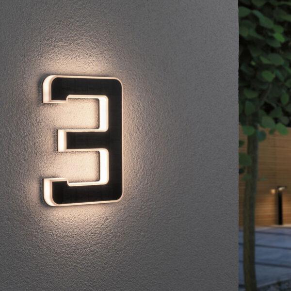 Paulmann aurinkokäyttöinen LED-talonnumero 3
