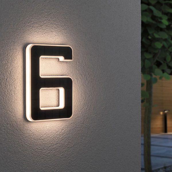 Paulmann aurinkokäyttöinen LED-talonnumero 6